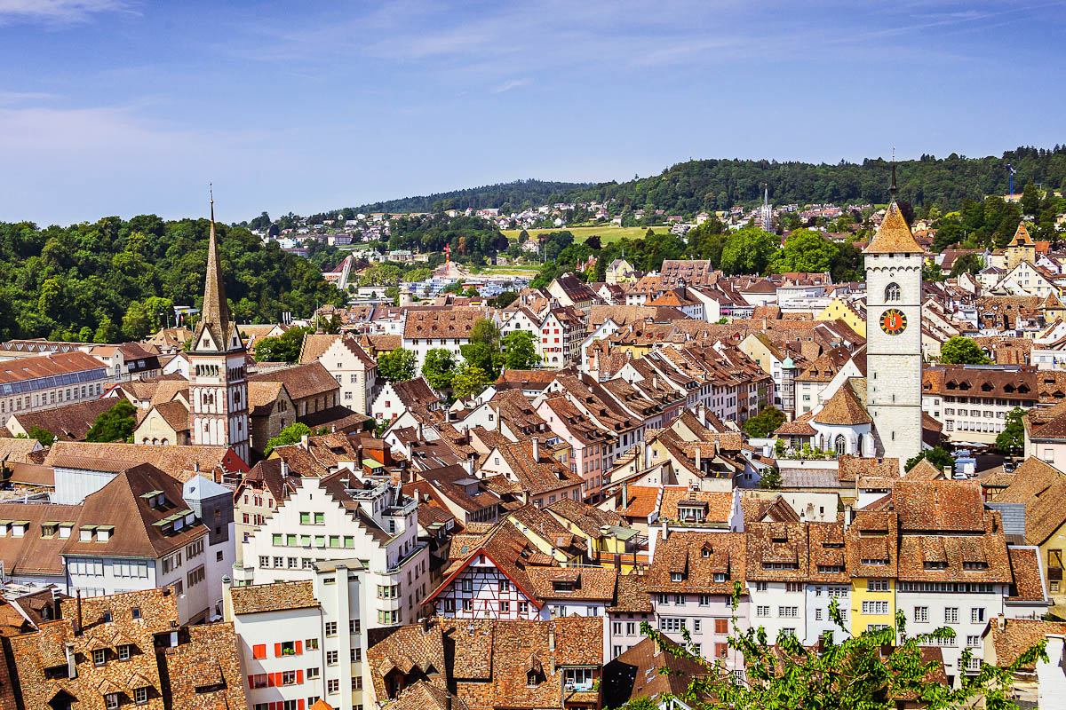 Panoramic,View,Of,The,Old,Town,Of,Schaffhausen,,Switzerland,From